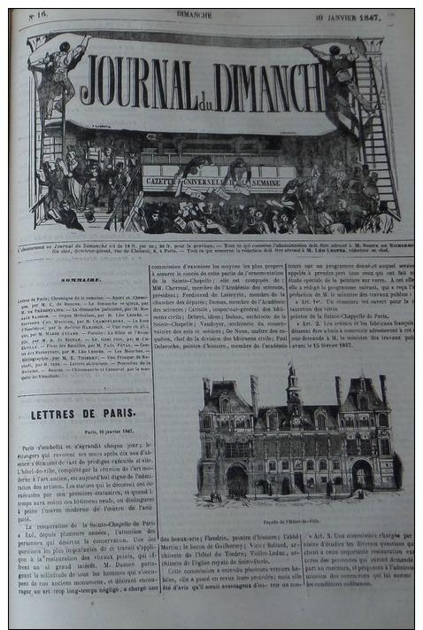JOURNAL DU DIMANCHE1847N°16: PARIS HOTEL DE VILLE/MAGASIN ORGUES MELODIUM BD BONNE-NOUVELLE/CHIROMANCI E ET CARNAVAL - Journaux - Quotidiens
