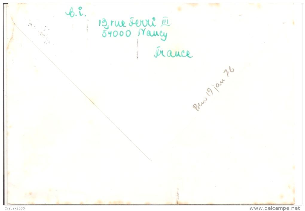 Y&T N°1812   NANCY     Vers  SUEDE     Le 02 JANVIER1976  2 SCANS - France
