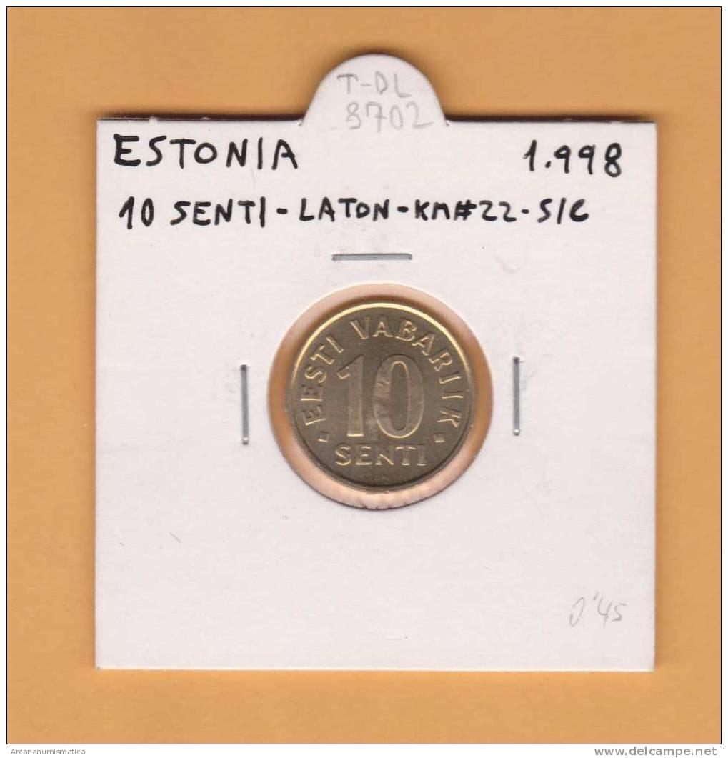 ESTONIA   10  SENTI   1.998  LATON   KM#22   SC/UNC    T-DL-8702 - Estonia