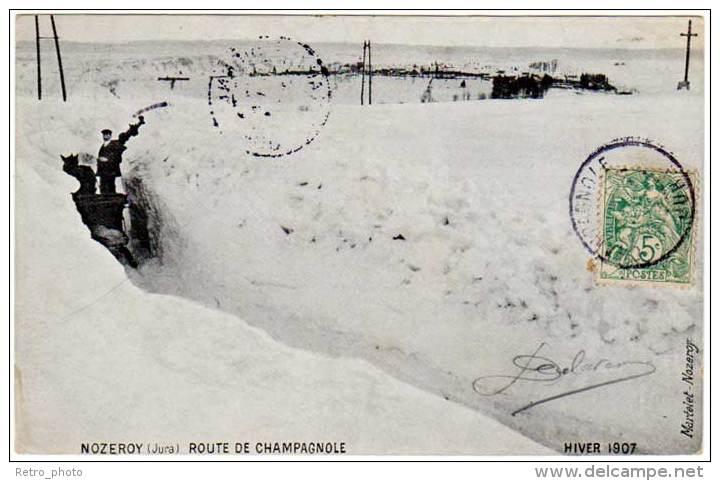 Nozeroy - Route De Champagnole - Hiver 1907 (traineau, édit. Martelet ) - France