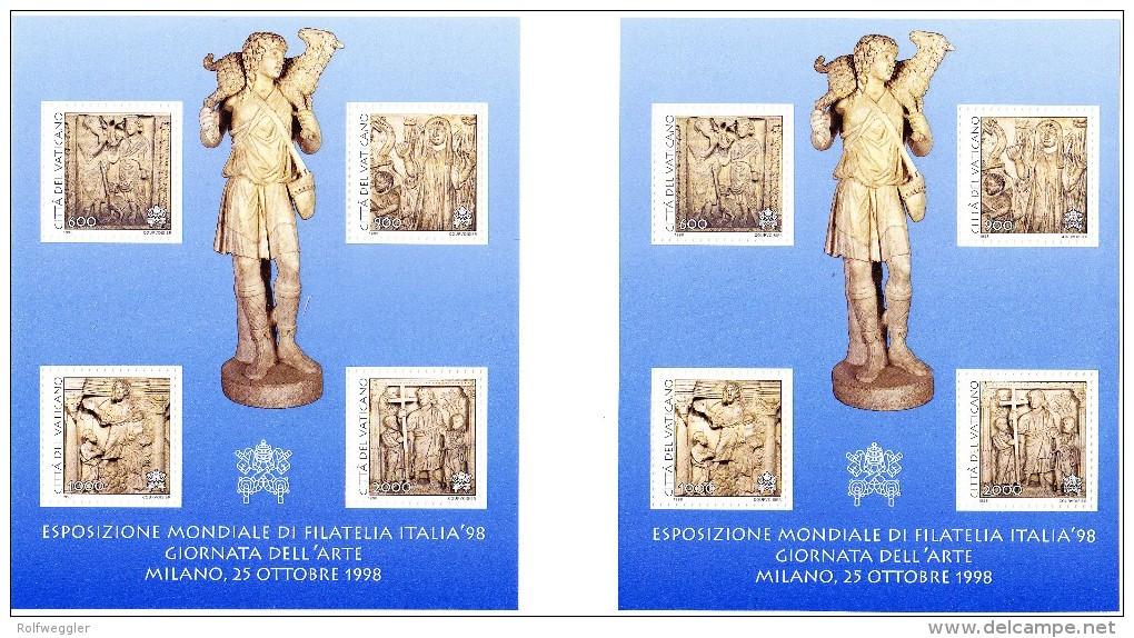 Vatikan 1998 - Ungetrenntes Blockpaar  Aus Courvoisier Archiv (Intern. Briefmarken Austellung Und Tag Der Kunst) Selten - Vatican