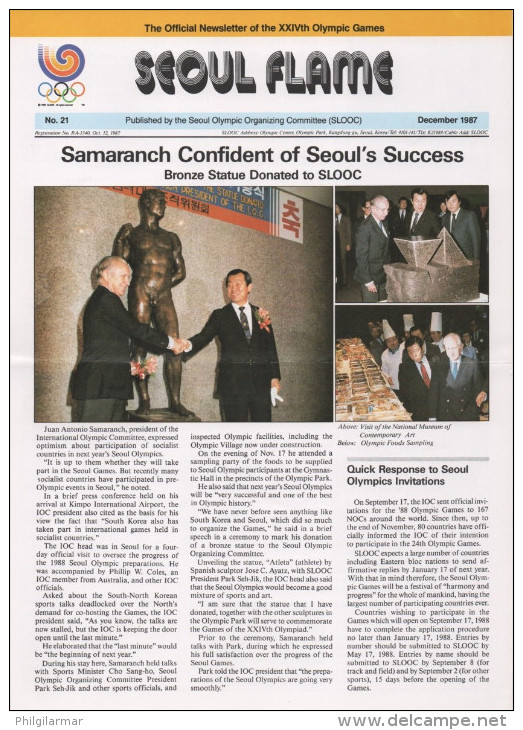 SOUTH KOREA 1987 - SEOUL FLAME - OFFICIAL NEWSLETTER OF THE 24th OLYMPIC GAMES SEOUL 1988 - # 21 - DECEMBER 1987 - Libros