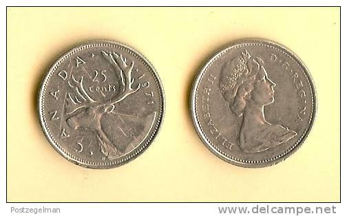 CANADA 1968-1978 Km62B 25 Cents QE II Nickel - Canada
