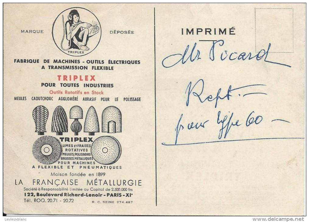 Machine à Transmission Flexible/ TRIPLEX/Limes Et Fraises Rotatives/ Bd Richard Lenoir/Paris /Vers 1955 VP702 - Petits Métiers