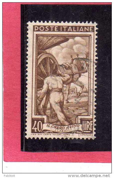 ITALIA REPUBBLICA ITALY REPUBLIC 1950 1951 AL LAVORO LABOUR LIRE 40 USATO USED OBLITERE´ - 6. 1946-.. Republic