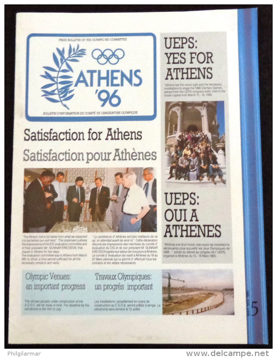 GREECE - OLYMPIC GAMES ATHENS '96 - PRESS BULLETIN OF THE OLYMPIC BID COMMITTEE - # 5 - MAY 1990 - Libros