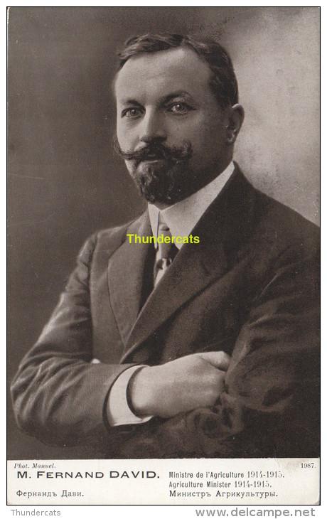 CPA M FERNAND DAVID MINISTRE DE L'AGRICULTURE 1914-1915 - Hommes Politiques & Militaires