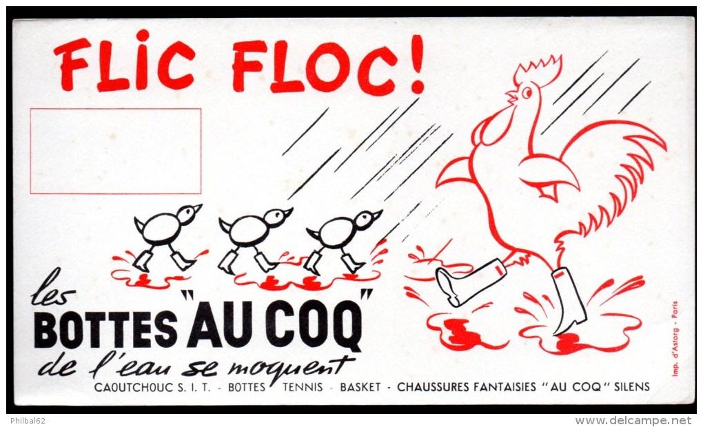 """Buvard  Les Bottes """"Au Coq"""". Les Bottes """"Au Coq"""", De L'eau Se Moquent. Illustration : Coq Et Poussins Bottés. - Chaussures"""