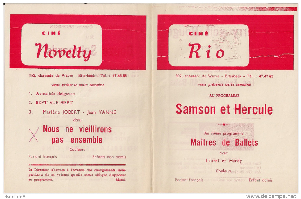 CINE RIO Et CINE NOVELTY (Etterbeek) ´DOUZE SALOPARDS´ (1972) Et Autres. - Cinema Advertisement