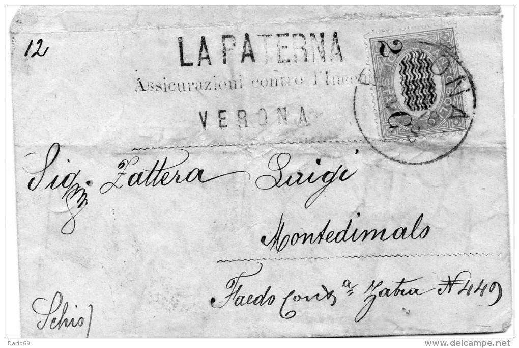 1878    LETTERA CON ANNULLO  VERONA - 1878-00 Humbert I.