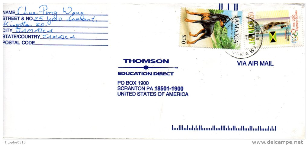 JAMAÏQUE. N°950 De 1999 Sur Enveloppe Ayant Circulé. Chien Doberman. - Hunde