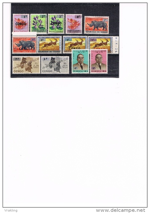 K 451 REPUBLIEK DU CONGO  XX  NR 532/544  ZIE SCANS - République Du Congo (1960-64)