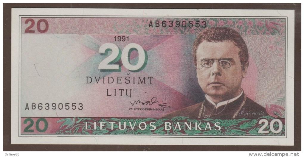 LITHUANIA 20 LITU 1991  P#48  SERIAL# AB  - UNC - - Lituanie