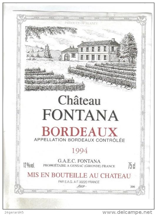 """LOT 3 ETIQUETTES BOUTEILLE VIN - Bx  """"Chateau Fontana""""1994, Bx """"Château Tour Chapoux 82, Médoc """"Chateau Queyzans"""" 92 - Collections & Sets"""