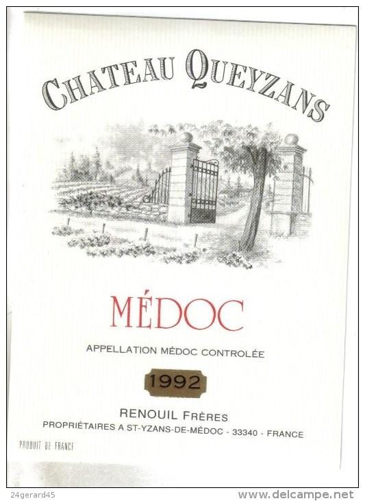 """LOT 3 ETIQUETTES BOUTEILLE VIN - St Julien """"Chat. Capdelong""""83 Et """"Chat. Cavignac""""2010, Médoc """"Chateau Queyzans"""" 92 - Collections & Sets"""