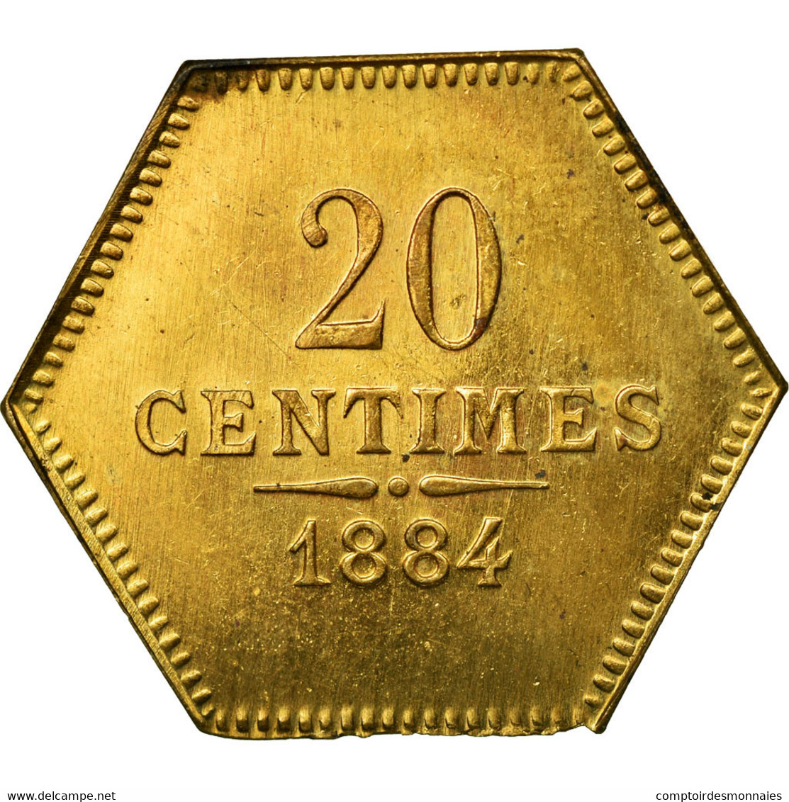 Monnaie, France, 20 Centimes, 1884, SUP+, Laiton - Monétaires / De Nécessité