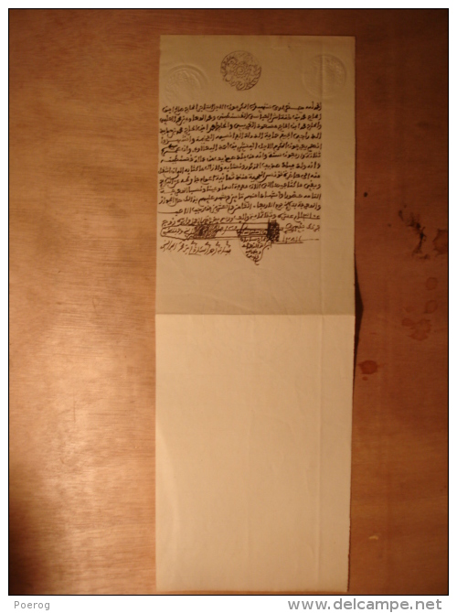 MANUSCRIT EN ARABE De 1892 - TUNISIE PAPIER FILIGRANE REGENCE DE TUNIS 1892 - Manuscritos