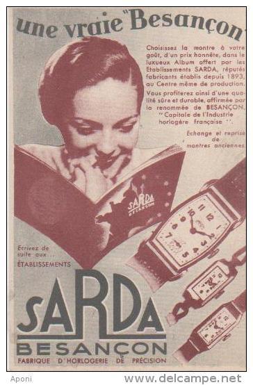 .CARTON PUBLICITAIRE ( Horlogerie ) - Besancon