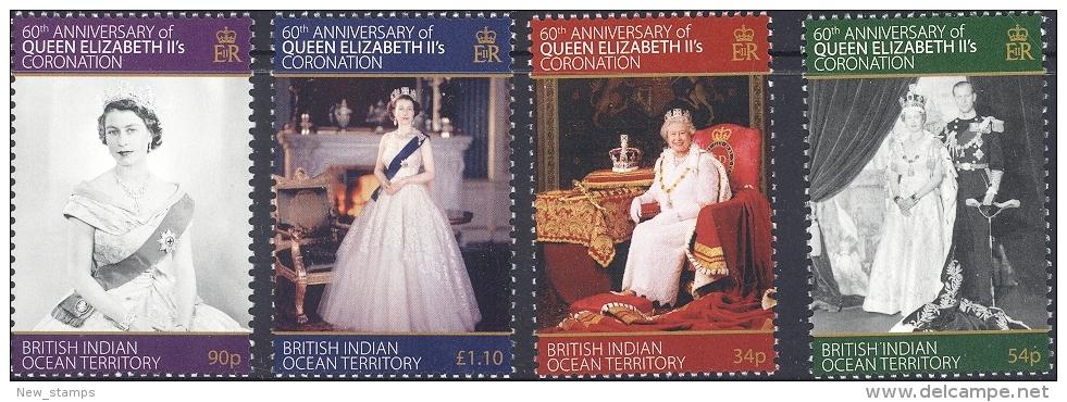 British Indian Ocean Territory 2013 Queen Elizabeth Coronation 4v MNH - Britisches Territorium Im Indischen Ozean