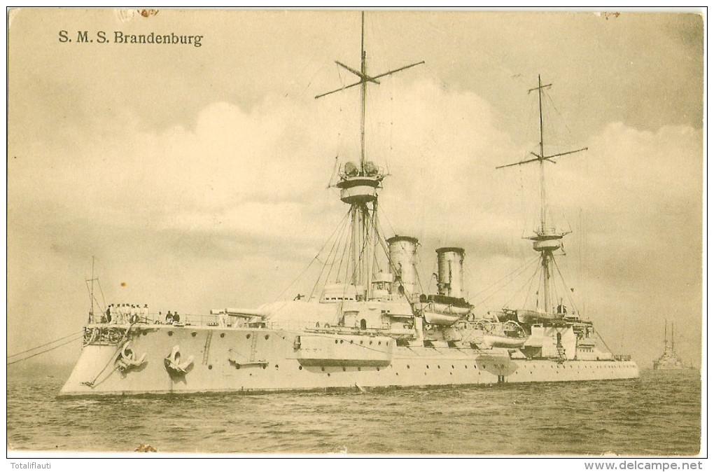 S.M.S. Brandenburg Pre Dreadnought Battleship 1891 Built Printed 1911 Ungelaufen - Oorlog