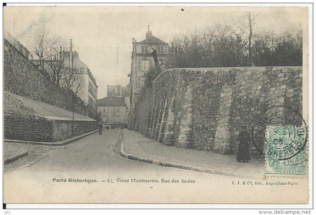 PARIS HISTORIQUE VIEUX MONTMARTRE RUE DES SAULES CPA BE - Francia