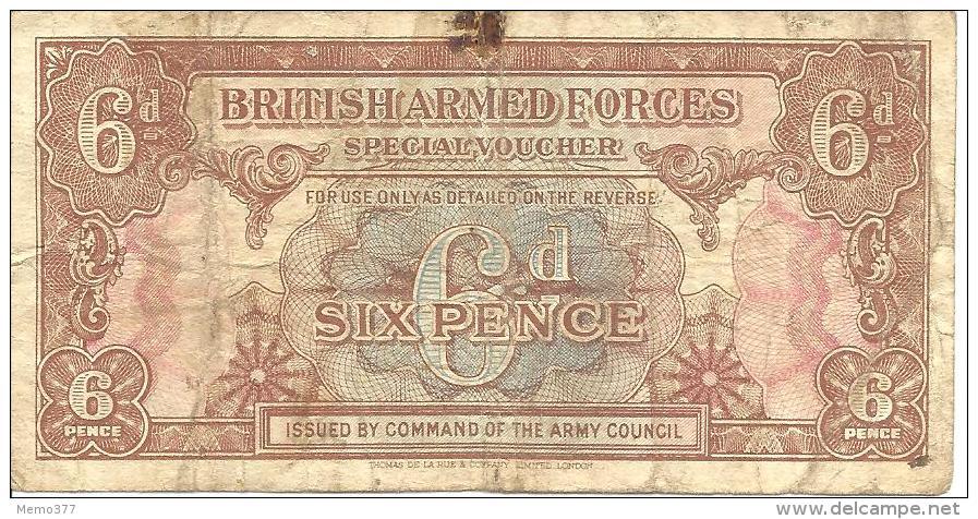 BRITISH  ARMED  FORCES    --    Six Pence  --  Spécial Voucher - Collezioni