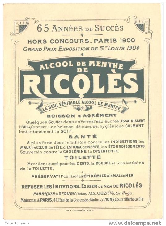 10 Cartes Anno 1900 PUB RICQLES Chromos Superbe Litho - Enfants Chansons Musique GERBAULT - Sammlungen