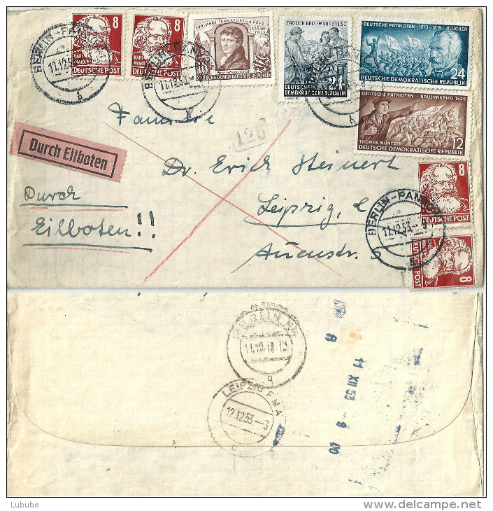 Eilboten Brief  Berlin-Pankow - Leipzig             1953 - [6] Repubblica Democratica