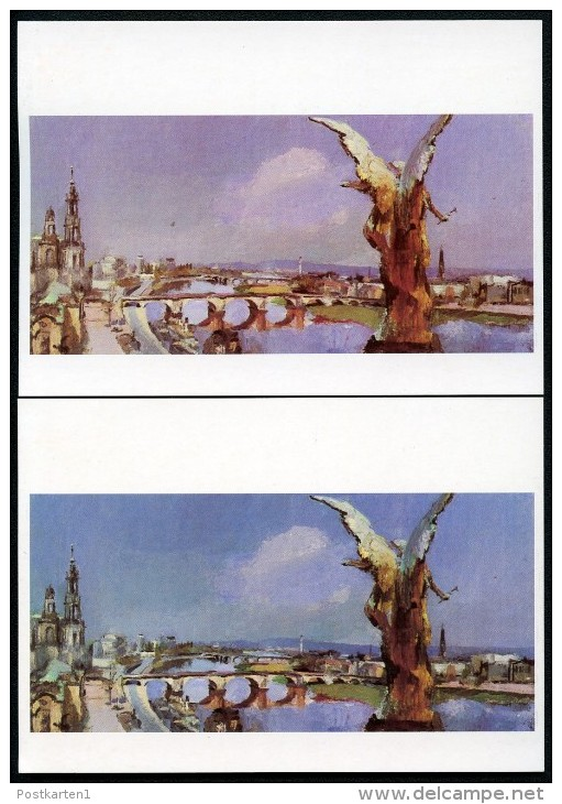 DDR PP19 006-1a Bild-Postkarten FARBABWEICHUNG Kunstausstellung **  1987 - Privatpostkarten - Ungebraucht