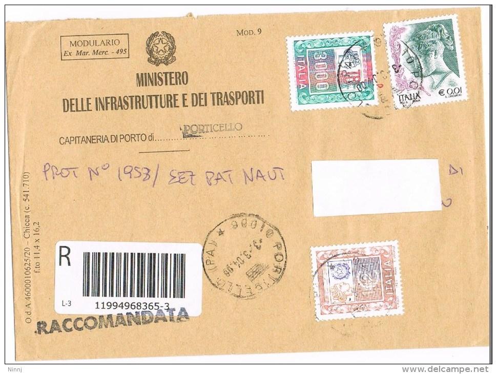 1451 - Italia  3.3.4 Raccom. Ministero Mod.9 Affr.  €. 1,24 + £. 3.000 Alti Valori + €. 0,01 La Donna Nell'Arte - 6. 1946-.. Republic