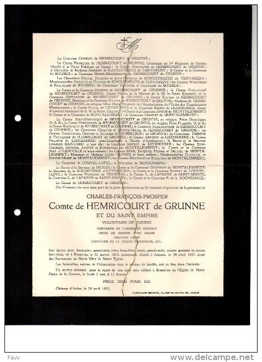 Charles De Hemricourt De Grunne Military Cross °bruxelles 1875 +Amiens24/4/1937 Chateau Aalter Schoutheete De Tervarent - Overlijden