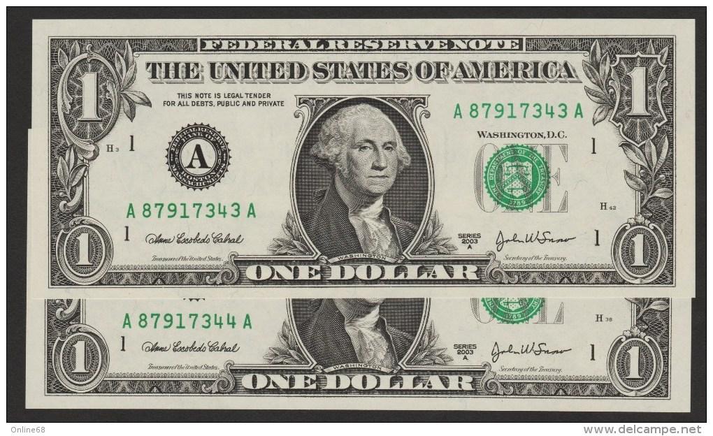 USA LOT 2x 1 DOLLAR 2003A SERIE A....A     LETTER A - Boston MA  No CONSECUTIFS  UNC - Bilglietti Della Riserva Federale (1928-...)