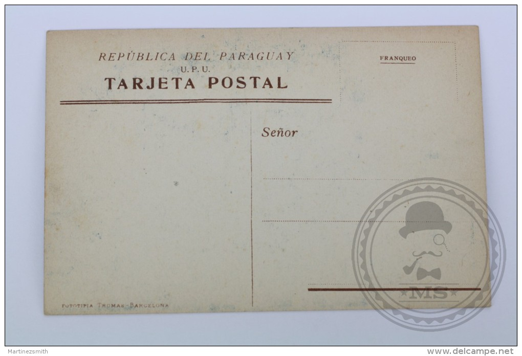 Old Paraguay Postcard - Plaza En Villarrica - Very Rare Postcard - Unposted - Paraguay