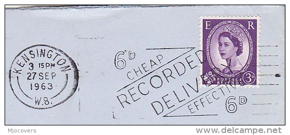 1963 GB Stamps COVER SLOGAN Pmk Kensington EFFECTIVE RECORDED DELIVERY - 1952-.... (Elizabeth II)