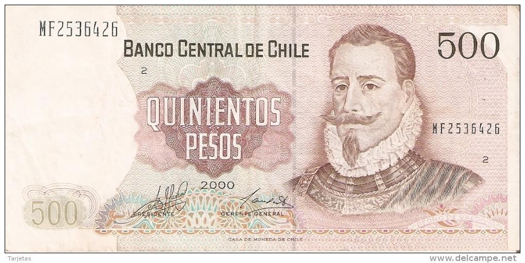 BILLETE DE CHILE DE 500 PESOS  DEL AÑO 2000  (BANKNOTE) - Chile