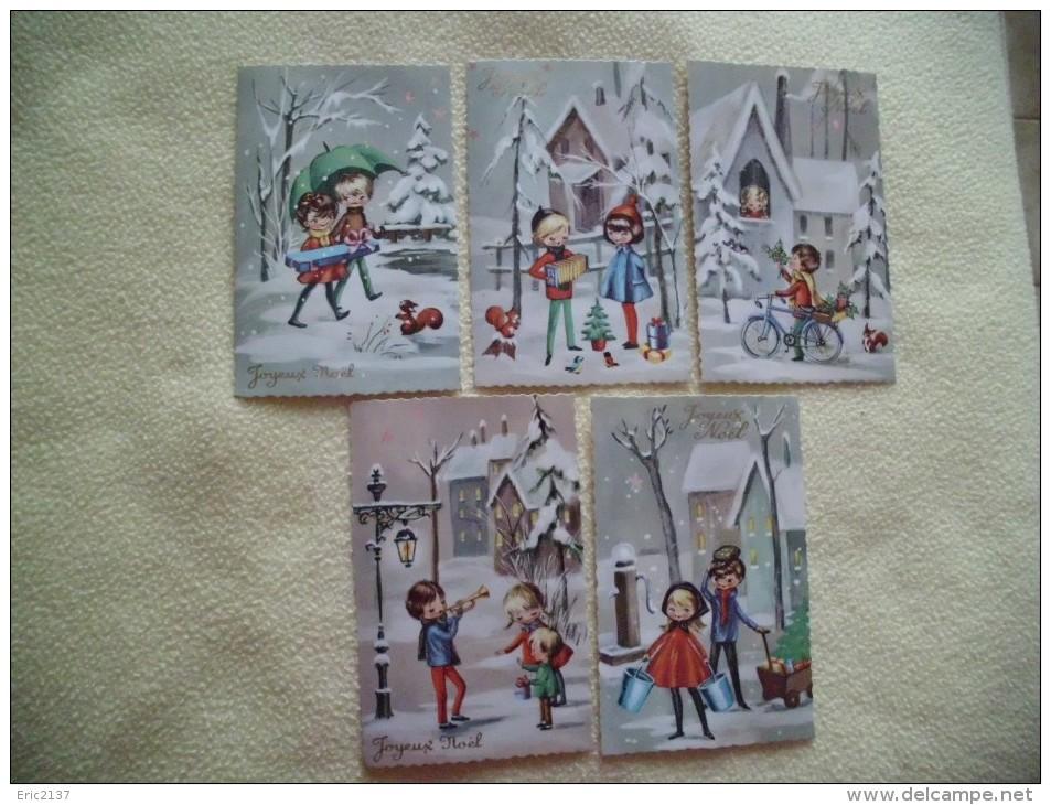 LOT DE 5 CARTES JOYEUX NOEL..BELLES ILLUSTRATIONS... - Noël