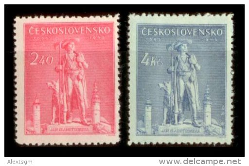 CZECHOSLOVAKIA 1945 MNH** - Jan Sladky Kozina - Mi 478-9, YT 425-6, Sc 305-6 - Tchécoslovaquie