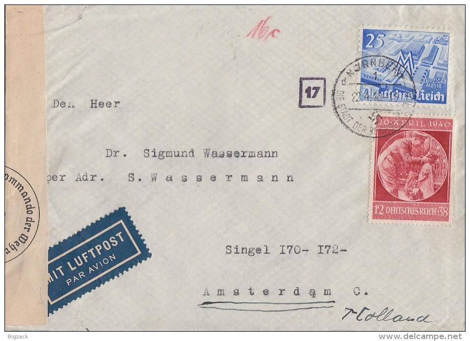 DR Brief Luftpost Mif Minr.742,744 Nürnberg 22.4.40 Gel. Nach Holland Zensur - Deutschland
