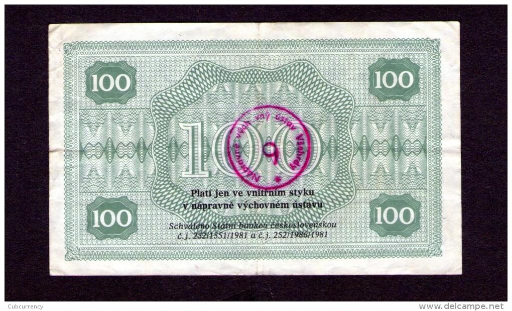 Czechoslovakia Prision Voucher Všehrdy 100 Kcs - Tsjechoslowakije
