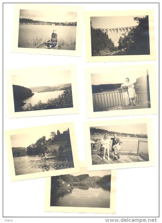 ROBERTVILLE - Lot De 7 Photos (+/- 6 X 9 Cm)  En +/- 1950 - Barrage Et Lac, Pêcheur, Canotage,... (b158) - Places