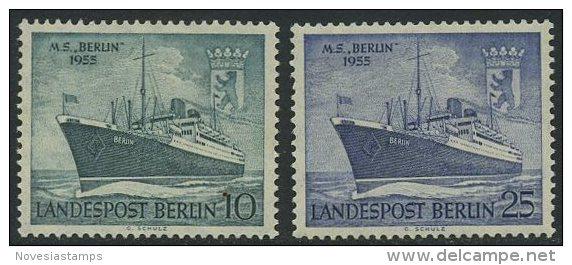 "!a! BERLIN 1955 Mi. 126-127 MH SET Of 2 SINGLES - Motorship ""Berlin"" - [5] Berlin"