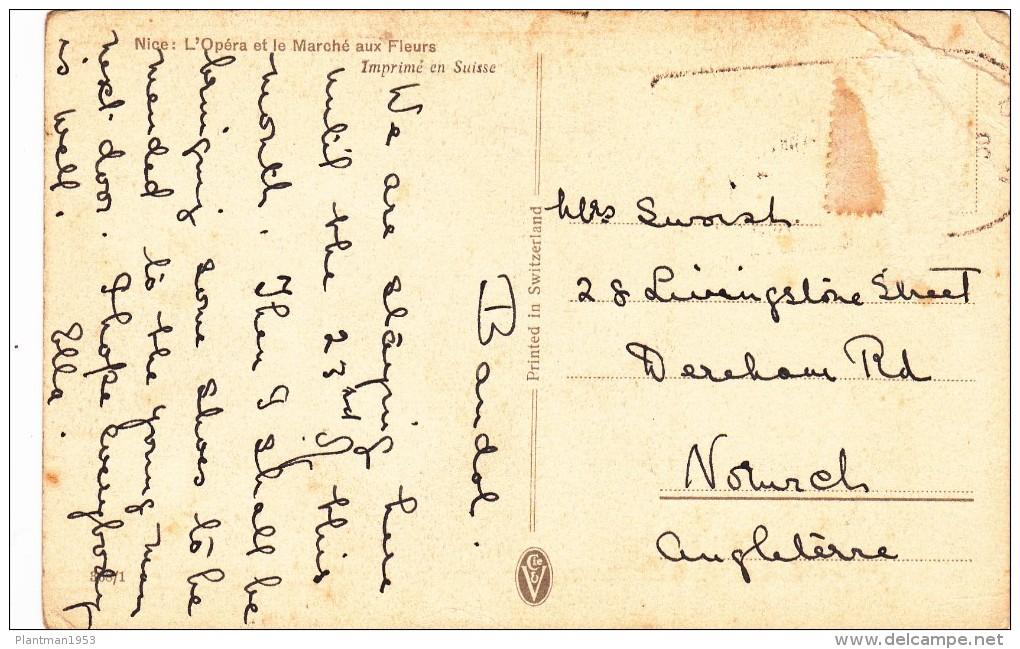 Antique Card Of Nice, L`Opera Et L Marche Aux Fleurs, Provence-Alpes-Cote D´Azur, France, Posted,N5. - Provence-Alpes-Côte D'Azur