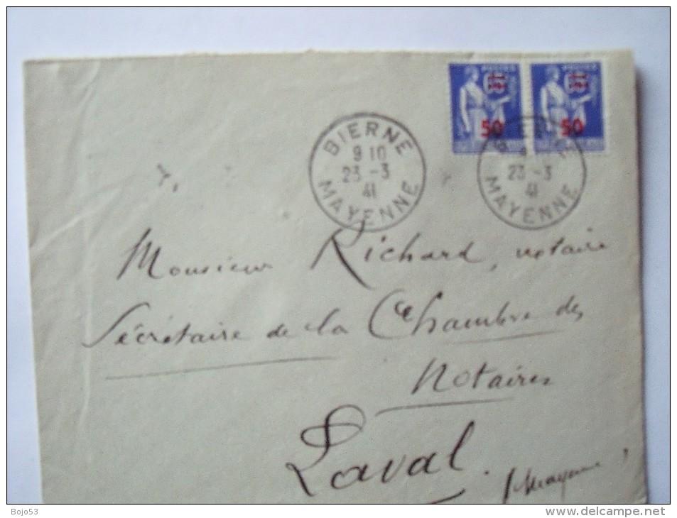 53 BIERNE - Cachet Manuel Du 23-3-1941 Sur Enveloppe Entière - Cachets Manuels