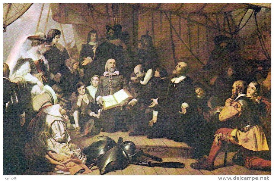 1 AK USA Washington DC * Gemälde Im Capitol - Pilgerväter (Pilgrims) Vor Ihrer Abreise 1620 In Die Neue Welt - Washington DC