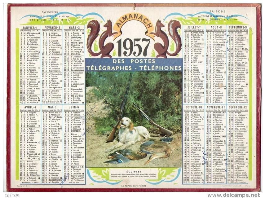 CALENDRIER GF 1957 - à La Fin De La Chasse Le Chien Attend ?? Sa Récompense ?? - Imprimerie Oller - Calendriers