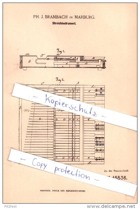 Original Patent  - Ph. J. Brambach In Marburg , 1888 , Streichinstrument !!! - Musikinstrumente