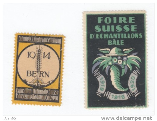 Lot Of 2 Different Small Stamps/Stickers, Graphic Design Exposition 1914 Bern & Foire Suisse D'Eschantillons Bale - Stickers