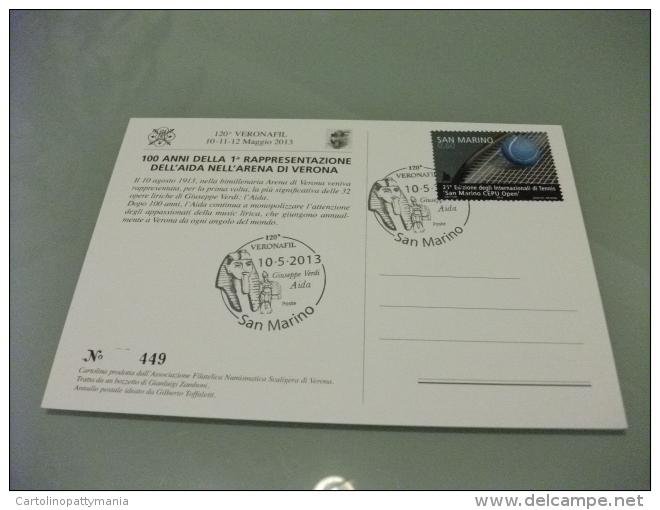 Cartolina Postale Carte Postale ANNULLO SPECIALE OPERA AIDA 100° ANNIVERSARIO VERONA ARENA ILLUSTRATORE ZAMBONI - Opera