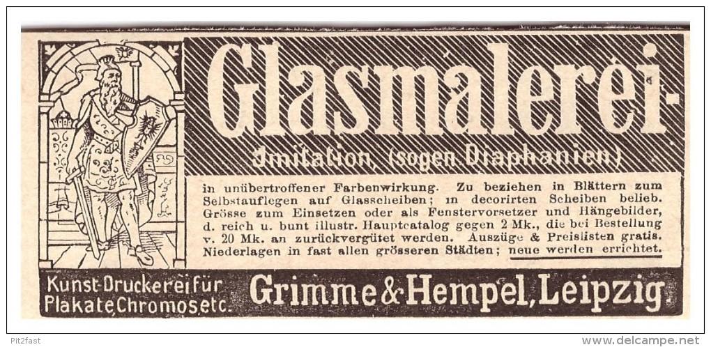 Original Werbung -1888 - Glasmalerei , Grimme & Hempel In Leipzig , Kunstdruckerei , Druckerei !!! - Glas & Kristall