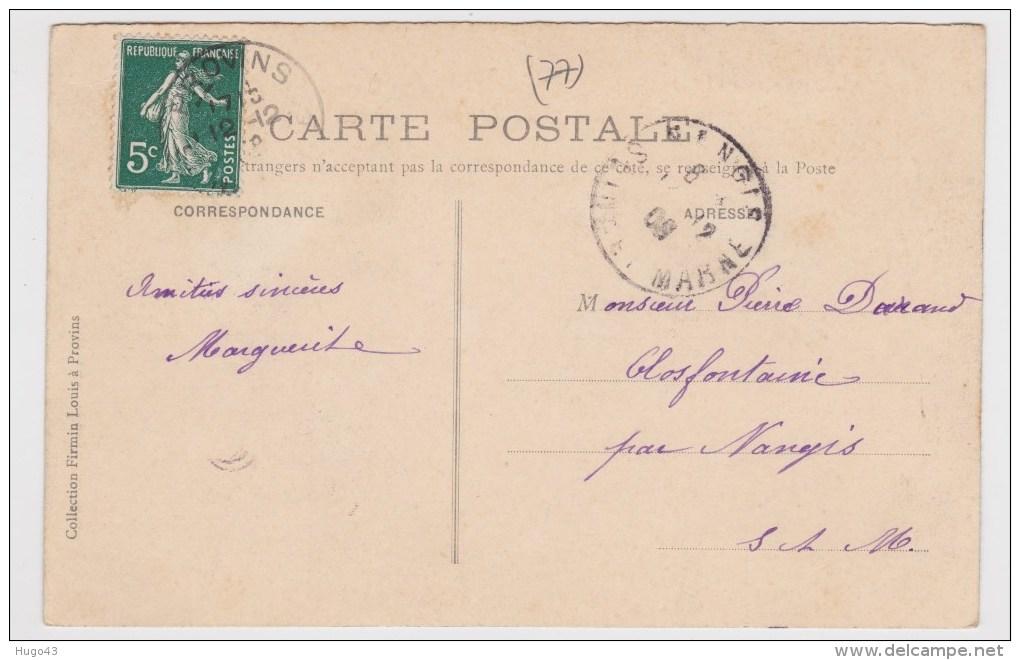 (RECTO / VERSO) PROVINS EN 1908 - N° 66 - PORTE SAINT JEAN - VUE INTERIEURE AVEC PUITS - Provins